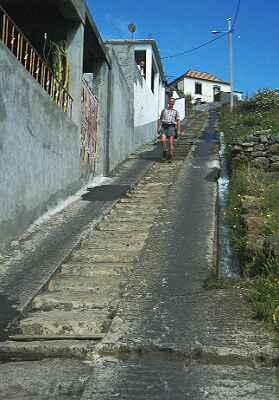 Steep road through viillage